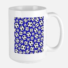 Royal Blue Soccer Ball Pattern Mugs