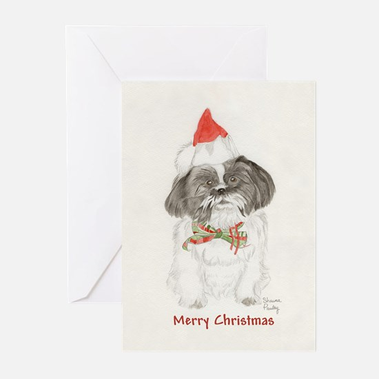 Black & White Shih Tzu Christmas Greeting Cards