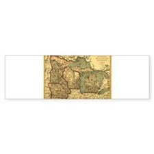 Midwest map 1873 Bumper Bumper Sticker