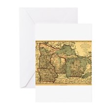 Midwest map 1873 Greeting Cards