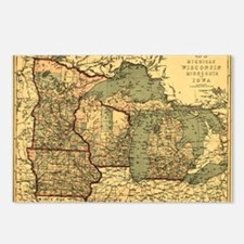 Midwest map 1873 Postcards (Package of 8)