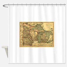 Midwest map 1873 Shower Curtain
