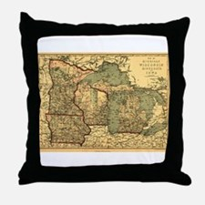 Midwest map 1873 Throw Pillow