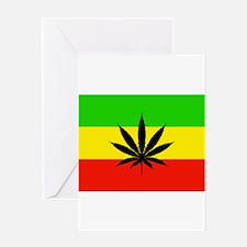 Reggae Weed flag Greeting Cards