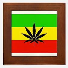 Reggae Weed flag Framed Tile