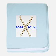 BORN TO SKI baby blanket