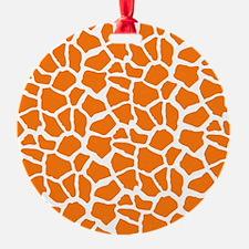 Orange and White Giraffe Pattern Animal Print Orna