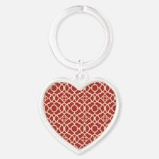 Red and Cream Vintage Damask Pattern Keychains