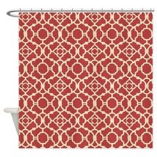 Red and Cream Vintage Damask Pattern Shower Curtai
