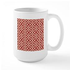 Red and Cream Vintage Damask Pattern Mugs