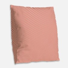 Skinny Coral and White Stripes Pattern Burlap Thro