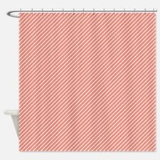 Skinny Coral and White Stripes Pattern Shower Curt