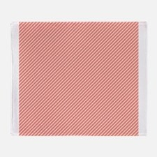 Skinny Coral and White Stripes Pattern Throw Blank