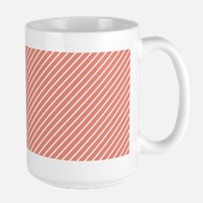 Skinny Coral and White Stripes Pattern Mugs
