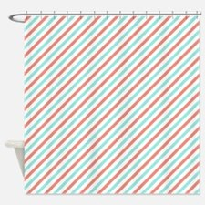 Coral Orange, Turquoise, and White Stripes Pattern