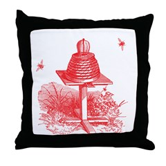 The Hive In Red Throw Pillow