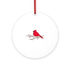 Cardinal Bird Branch Ornament (Round)