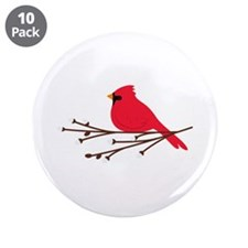 "Cardinal Bird Branch 3.5"" Button (10 pack)"