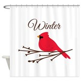 Christmas cardinal Shower Curtains
