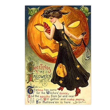 Witch & Jack-O-Lantern Postcards (Package of 8)