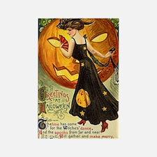 Witch & Jack-O-Lantern Rectangle Magnet