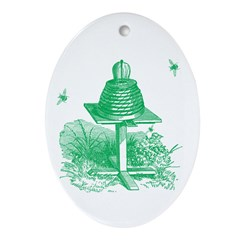 The Hive in Green Oval Ornament