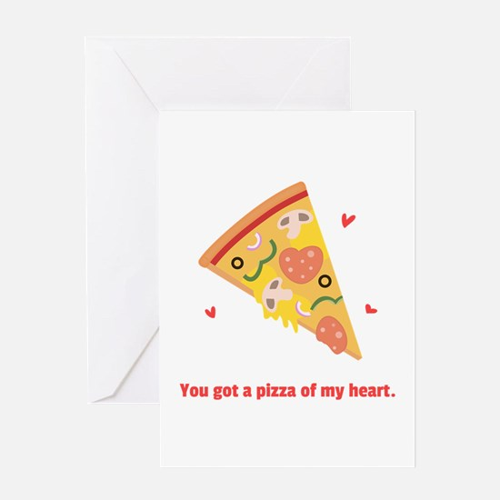 Yummy Pizza Heart Pun Humor Greeting Cards