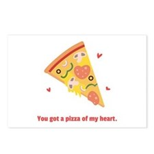 Yummy Pizza Heart Pun Humor Postcards (Package of