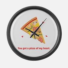 Yummy Pizza Heart Pun Humor Large Wall Clock