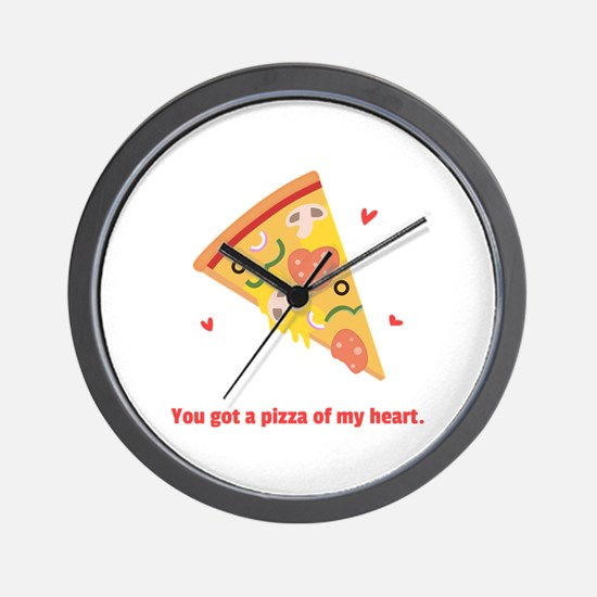 Yummy Pizza Heart Pun Humor Wall Clock