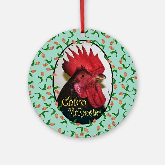 Chico Square, turq Round Ornament