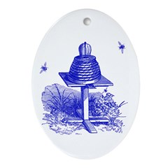 The Hive in Blue Oval Ornament