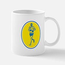 Marathon Runner Running Oval Retro Mugs
