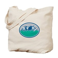 Rugby Union Scrum Oval Retro Tote Bag