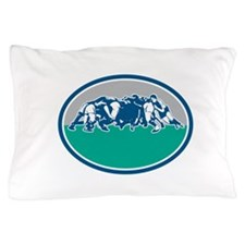 Rugby Union Scrum Oval Retro Pillow Case