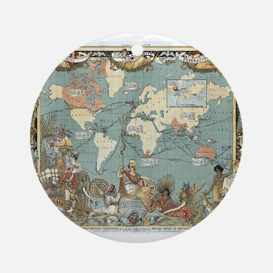 British Empire map 1886 Ornament (Round)