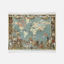 British Empire map 1886 Throw Blanket