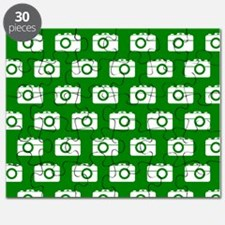 Green and White Camera Illustration Pattern Puzzle