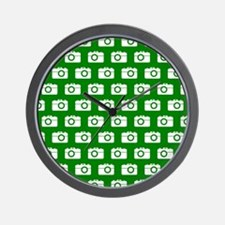 Green and White Camera Illustration Pat Wall Clock