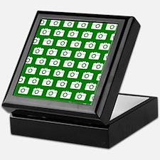Green and White Camera Illustration P Keepsake Box