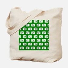 Green and White Camera Illustration Patte Tote Bag