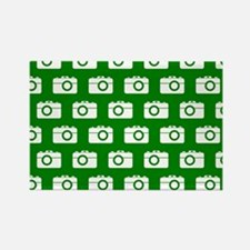 Green and White Camera Illustrati Rectangle Magnet