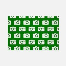 Green and White Camera Rectangle Magnet (100 pack)