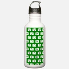 Green and White Camera Water Bottle