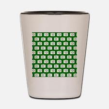 Green and White Camera Illustration Pat Shot Glass
