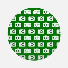 Green and White Camera Illustrati Ornament (Round)