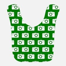 Green and White Camera Illustration Pattern Bib