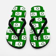 Green and White Camera Illustration Pat Flip Flops