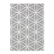Flower Of Life Lg Ptn Wt/grey 5'x7'area Rug