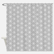 Flower of Life Ptn Wt/Grey Shower Curtain